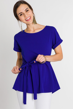 Best Belted Blouse, Royal Blue