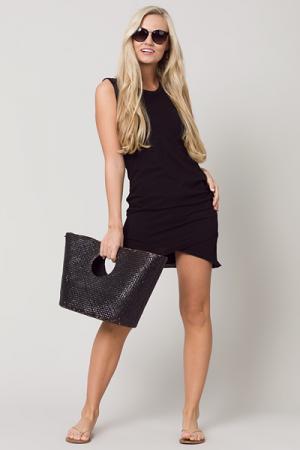 Ruched Side Knit Dress, Black