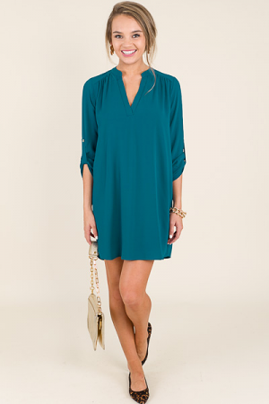 Tabbed Shirt Dress, Teal