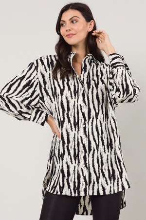Zebra Shirt Dress, Black