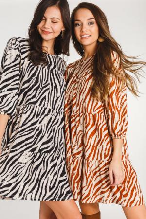 Zebra Tiered Dress, Bronze