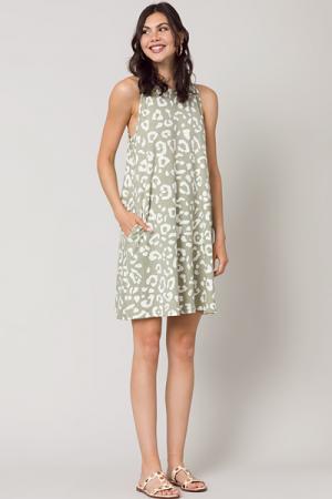 Longer Swing Dress, Sage Leopard