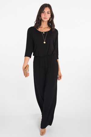 Quarter Sleeve Jumpsuit, Black