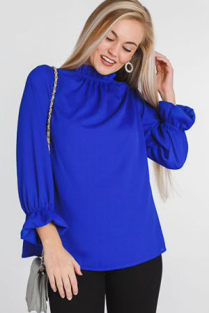 Above It All Ruffle Blouse, Royal