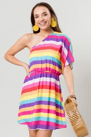 Rainbow One Shoulder Dress