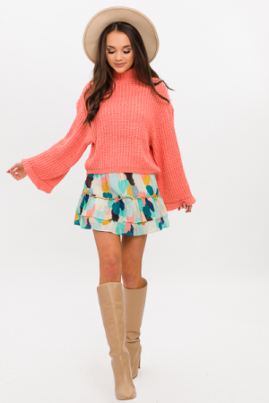 Cropped Cutie Sweater, Coral