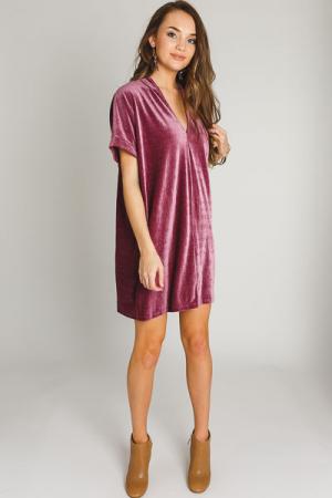 Karlie Velvet V Dress, Mauve