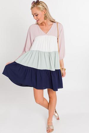 Colorblock Babydoll Dress