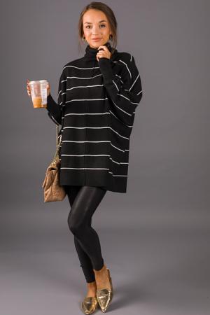 Alina Striped Turtleneck, Black