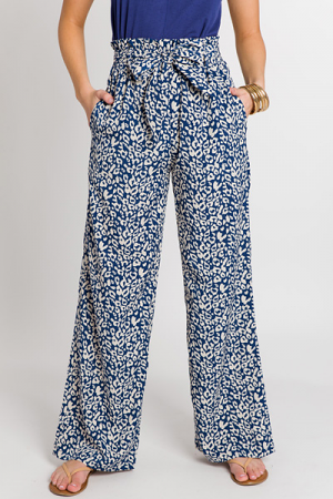Blue Leopard Printed Pants