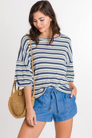 Boxy Stripe Top, Blue