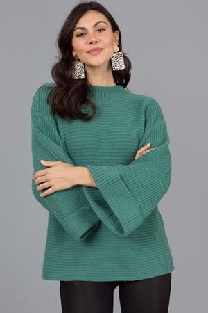 Beth Cuffed Sweater, Moss