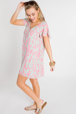 Ciara Dress, Pink Leopard