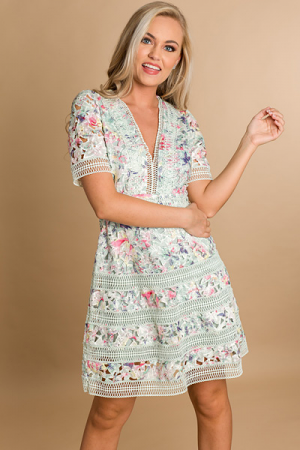 Tea Party Dress, Sage Multi