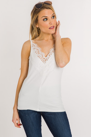 Lace V Ribbed Cami