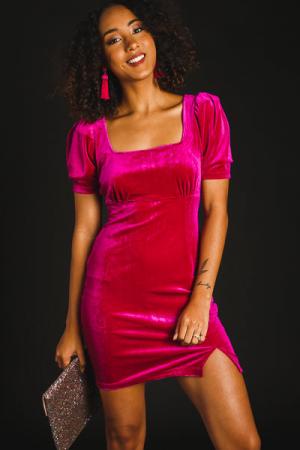 Magenta Velvet Mini Dress