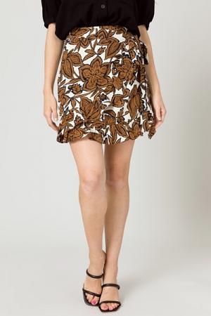 Richie Floral Wrap Skirt, Brown