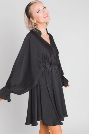 Satin Ruffle Surplice Dress