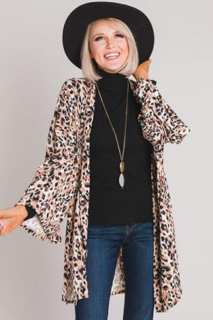 So Soft Knit Kimono, Leopard