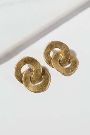 Double Round Earrings, Gold