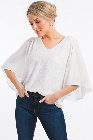 Textured Tonal White Blouse