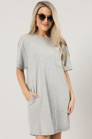 Pocket Tee Dress, H. Grey
