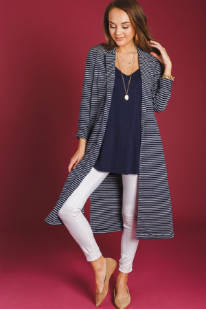 Timeless Stripe Duster, Navy