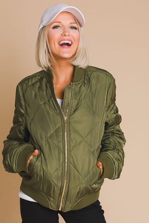Quilted Bomber Jacket, Olive