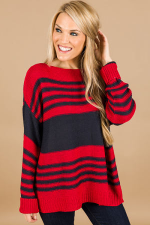 School Vibes Sweater, Red