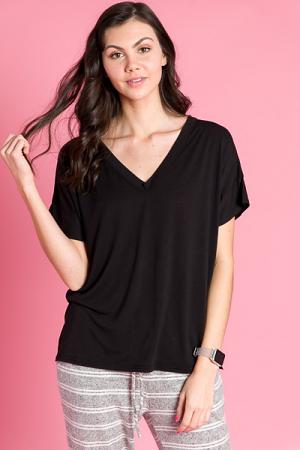 Short Sleeve V-Neck Piko, Black