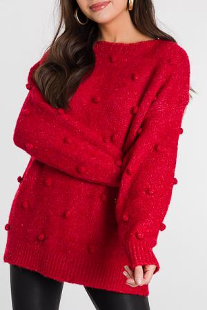 Pom Pom Party Sweater, Red