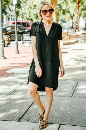 Let it V Woven Dress, Black