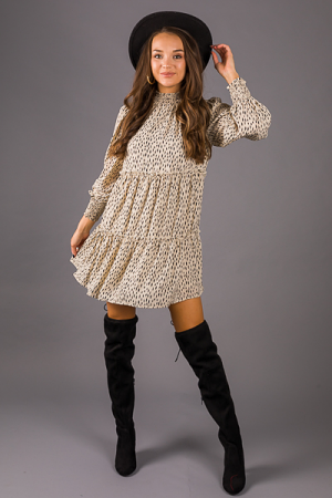 Tie Back Speckle Dress, Cream