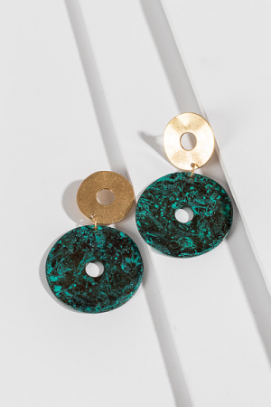 Double Disc Earring, Green