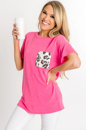 Cheetah Pocket Tee, Pink