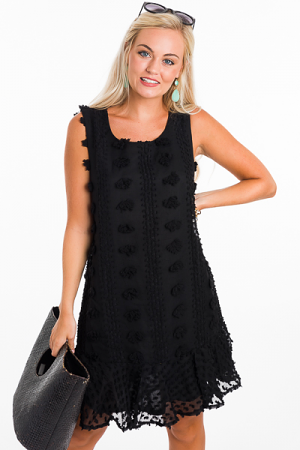 Pom Pom Dress, Black