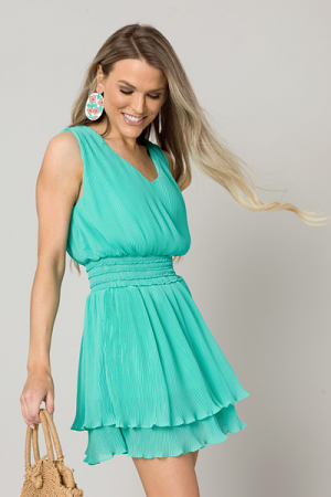 Jade Micro Pleated Dress
