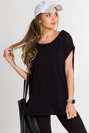 Just Relax Sweater Tee, Black