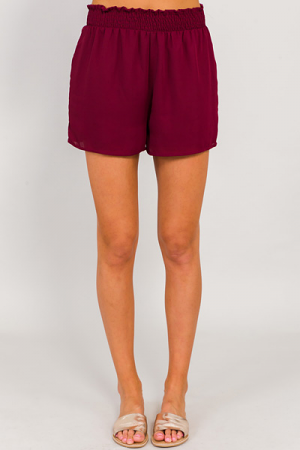 Smocked Waist Shorts, Burgundy