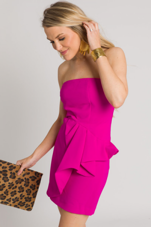 Rachel Ruffle Dress, Fuchsia