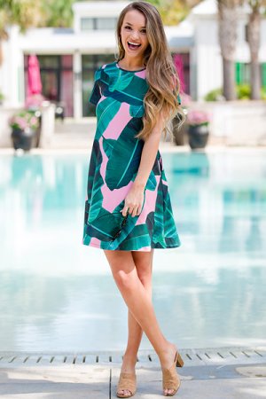 Stretchy Palm Dress, Pink
