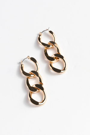 Notched Chain Earring, Gold