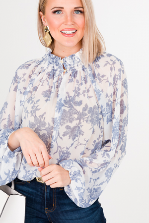 Blue Floral Smock Collar Blouse