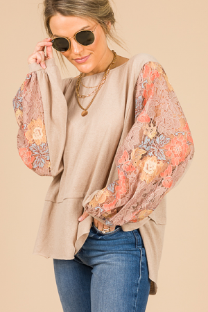 Lace Sleeves Top, Taupe