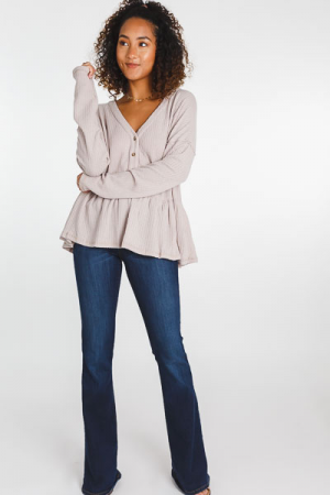 Button Peplum Thermal, Taupe