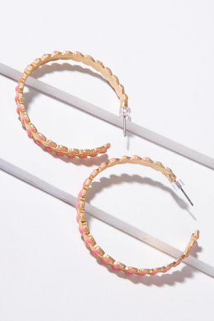Color Weave Hoops, Coral