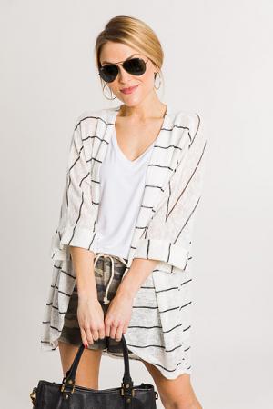 Erin Striped Knit Cardi
