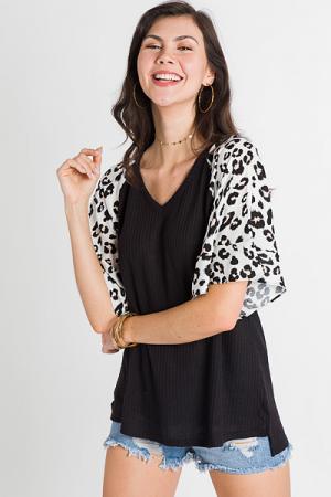 Leopard Sleeve Thermal, Black