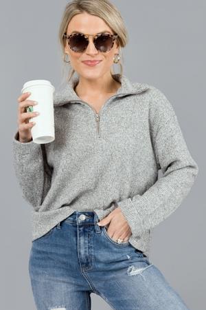 Thermal Knit Half Zip, Grey