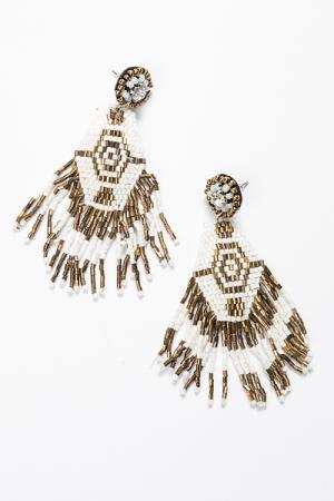 Beaded Hex Earrings, White Gold